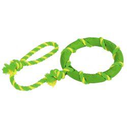 Anneau et corde PVC/coton vert-jaune 47 cm