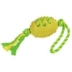 Ballon foot et corde PVC/coton vert-jaune 42 cm