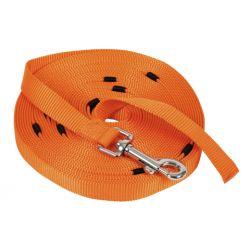 Laisse Miami avec enrouleur orange, 10m x 20mm